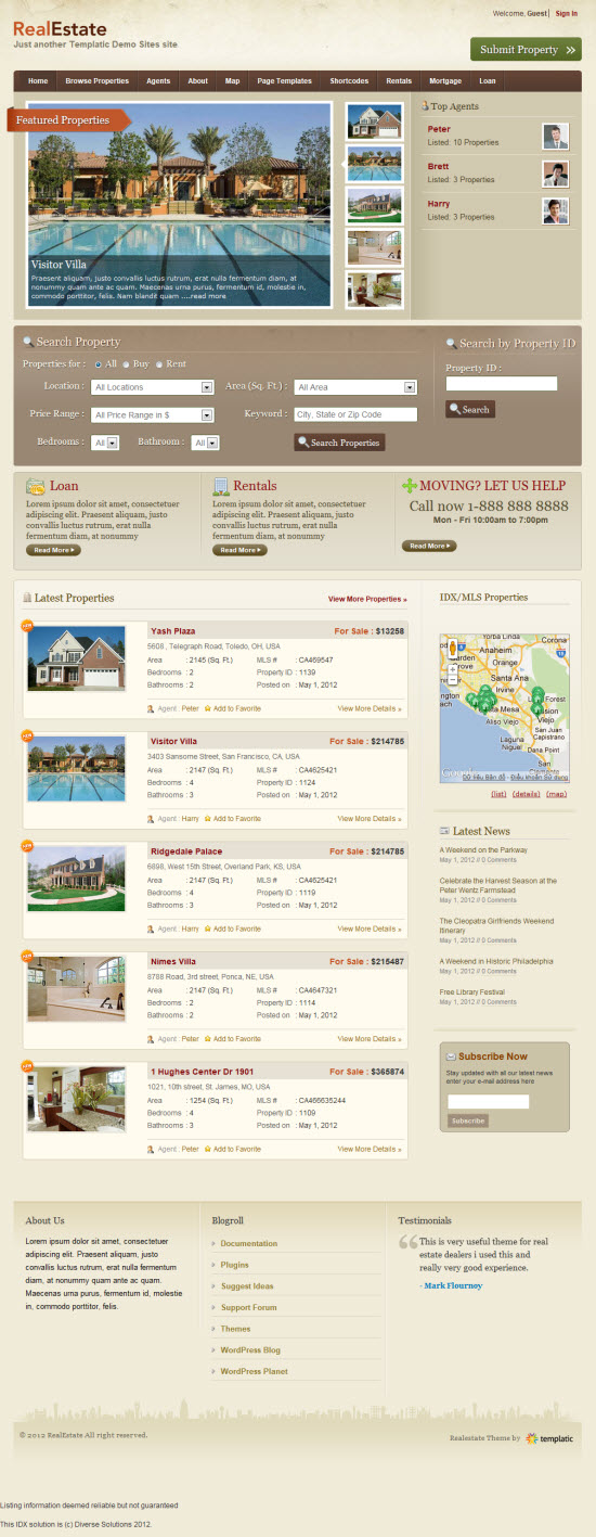 Real Estate 2 WordPress Theme by templatic
