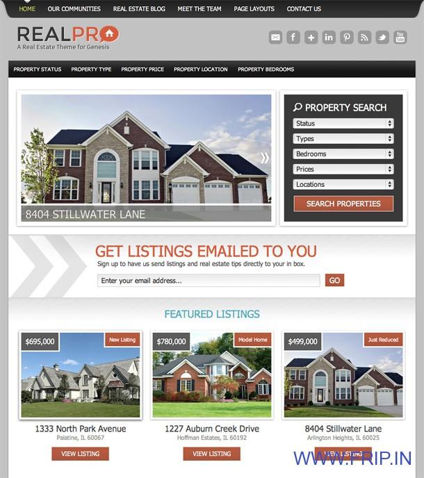 realpro real estate wordpress theme