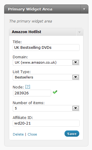 Amazon Hotlists For WordPress