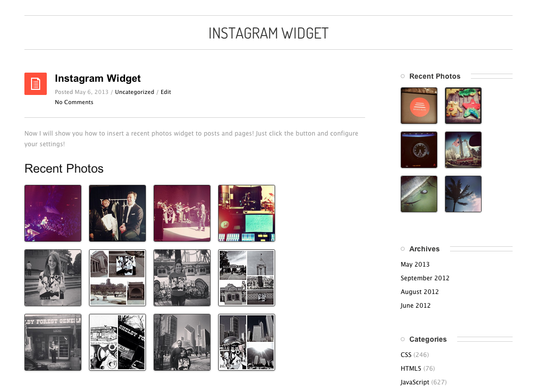 Instagram Recent Photos Widget Pro