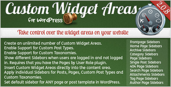 custom widget area for wordpress