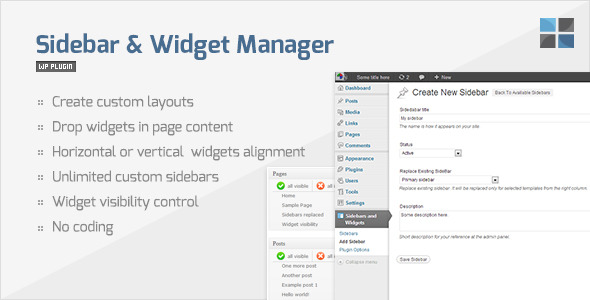 sidebar and widget manager for wordpress