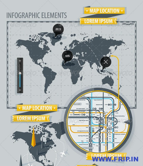Inforgraphic Elements With World Map