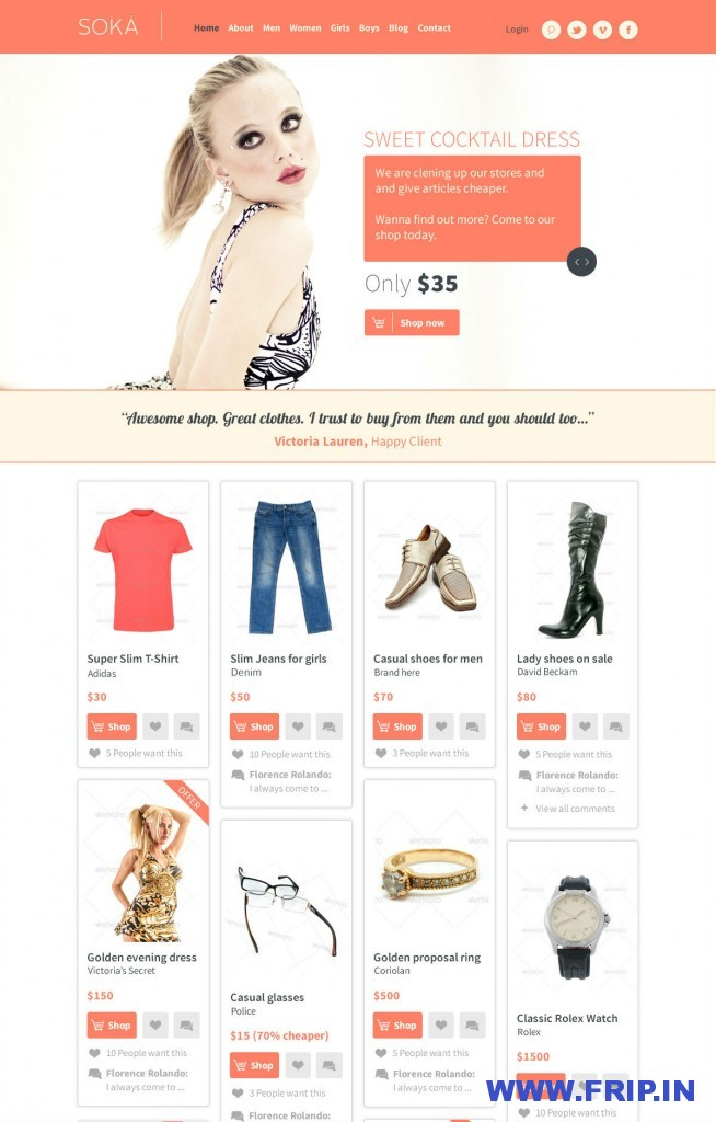 SOKA PSD Templates Fashion Online Shop