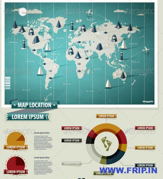 Set Elements of Infographics World Map