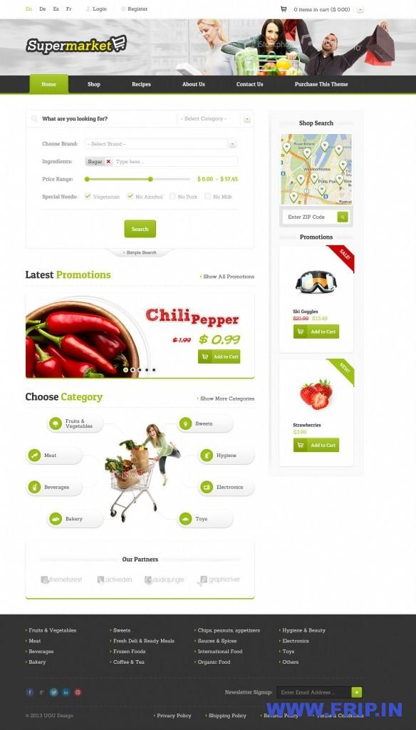 Supermarket eShape PSD Template