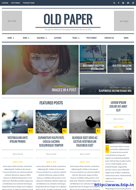 old paper wordpress magazine theme