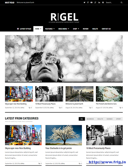 rigel clean magazine wordpress theme