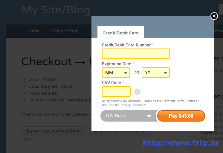 2Checkout Direct Payment Gateway