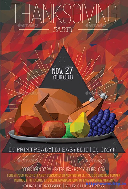 Lowpoly-Thanksgiving-Party-Flyer