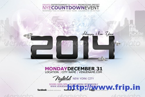 NYE 2014 Skyline Flyer Template