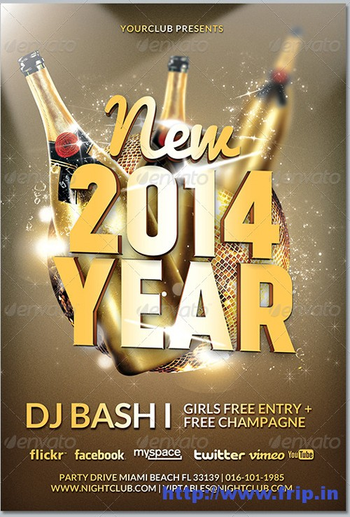 New Year Eve's 2014 Party Flyer