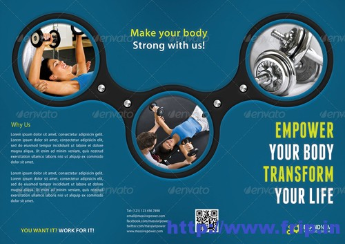 Fitness 3 Fold Brochure Template