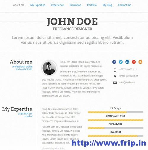 PerfectCV vCard WordPress Themer