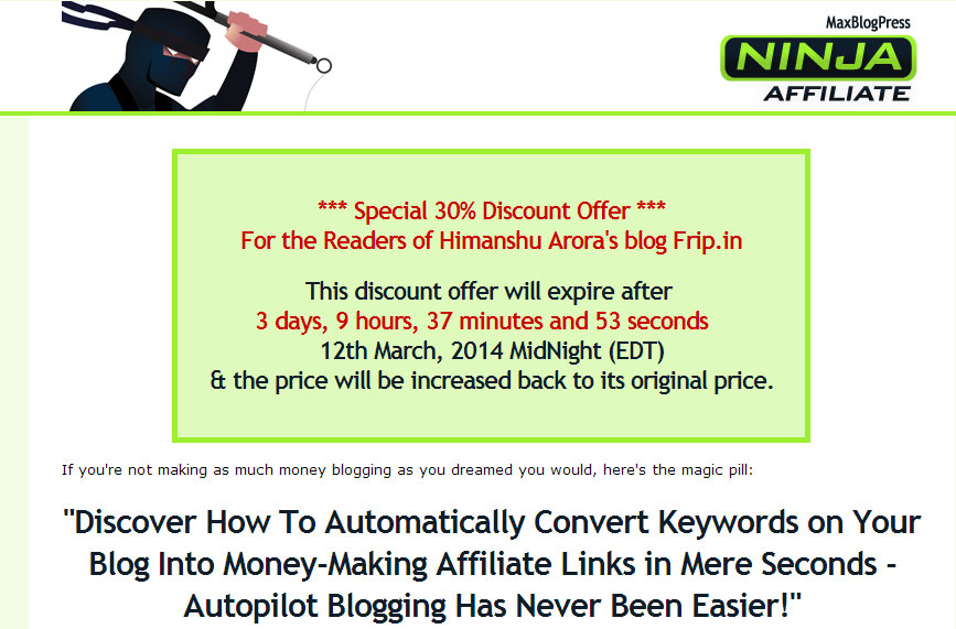 maxblogpress ninja affiliate plugin coupon code
