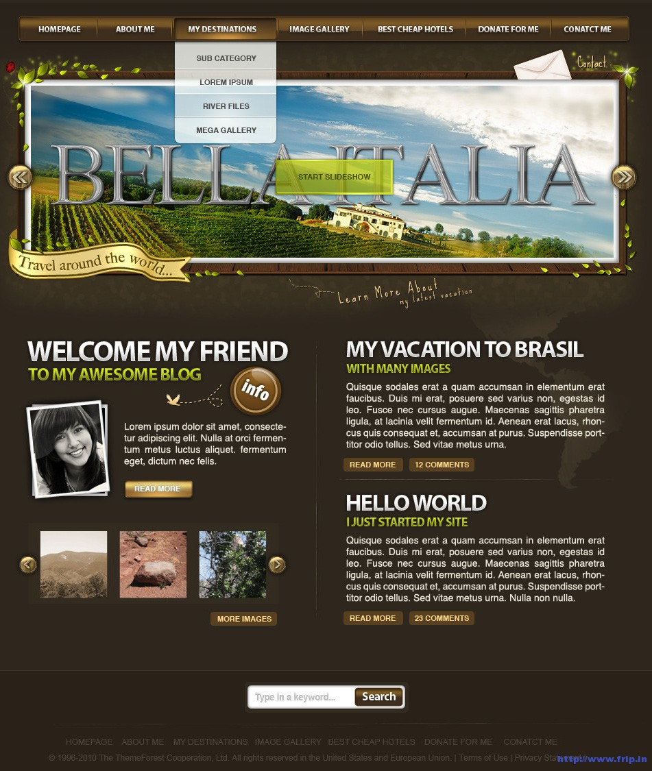 World Traveler PSD Template