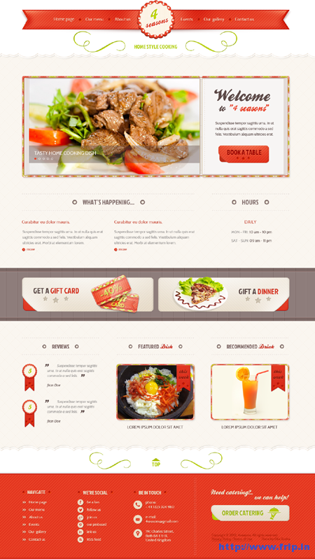 4 Seasons Restaurant PSD Template