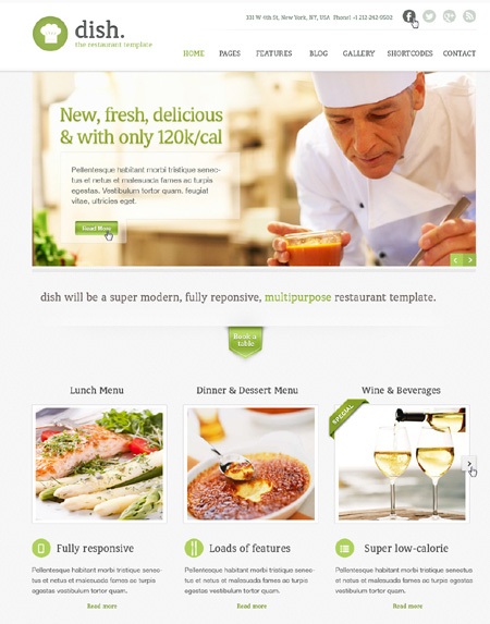 Dish Multipurpose PSD Restaurant Templates