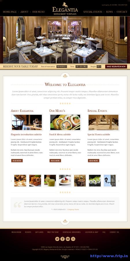 Elegantia Restaurant PSD Template