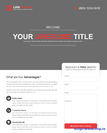 Law Online Unbounce Template