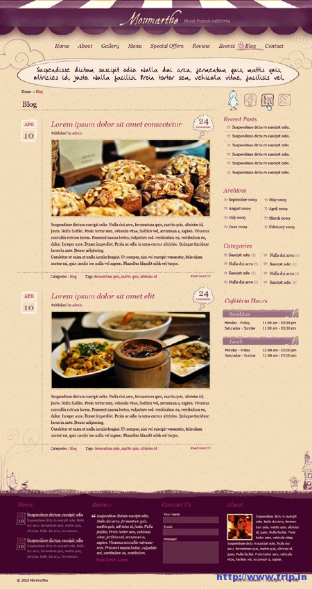 Monmarthe Restaurant & Cafe PSD Template