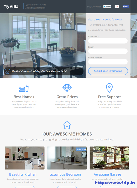 My Villa Real Estate Unbounce Template