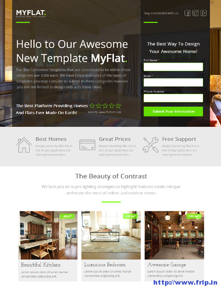 MyFlat Real Estate Unbounce Template