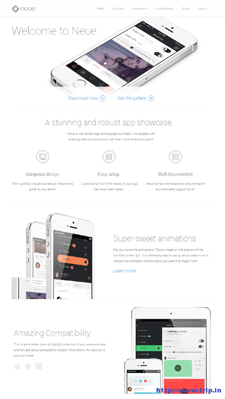 Neue App Landing Page Template
