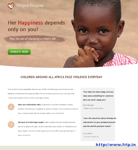 Purpose Non Profit Unbounce Template