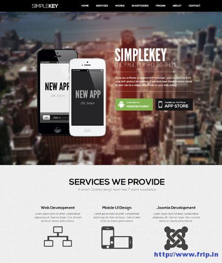 Simplekey One Page Joomla Template