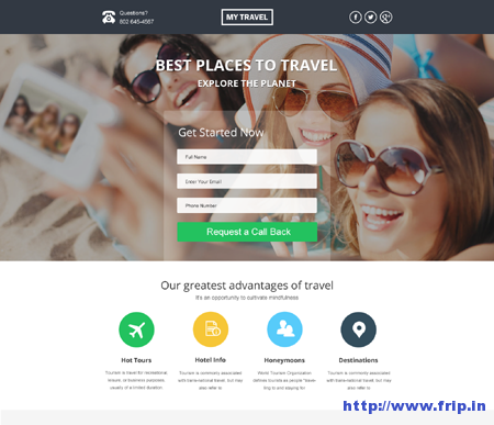 Unbounce Landing Page For Travel