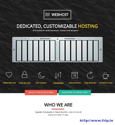 WebHost Dedicated Hosting Landing Page
