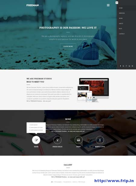 Freeman Studios Creative One Page Template