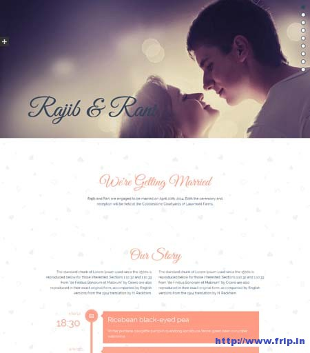 R+R Wedding Landing Page Template