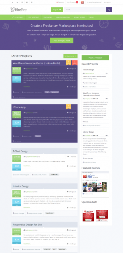 HireBee freelancer marketplace wordpress theme review