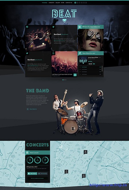 Beat One Page Music & Band Template