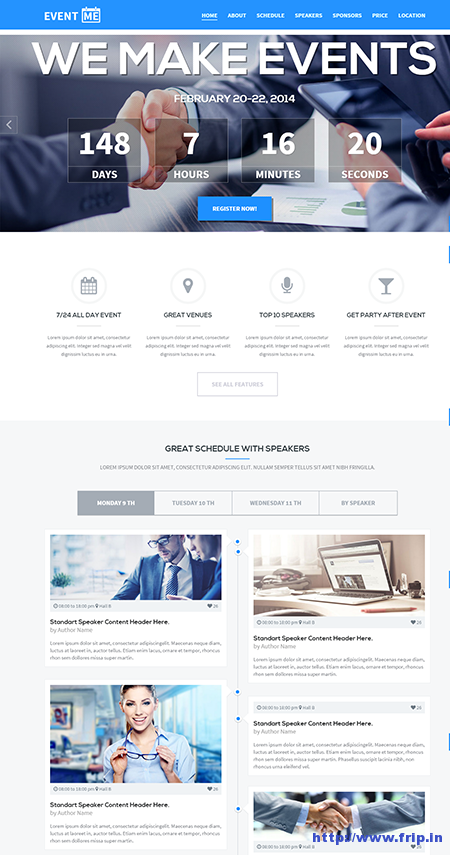 Event Me Responsive Landing Page