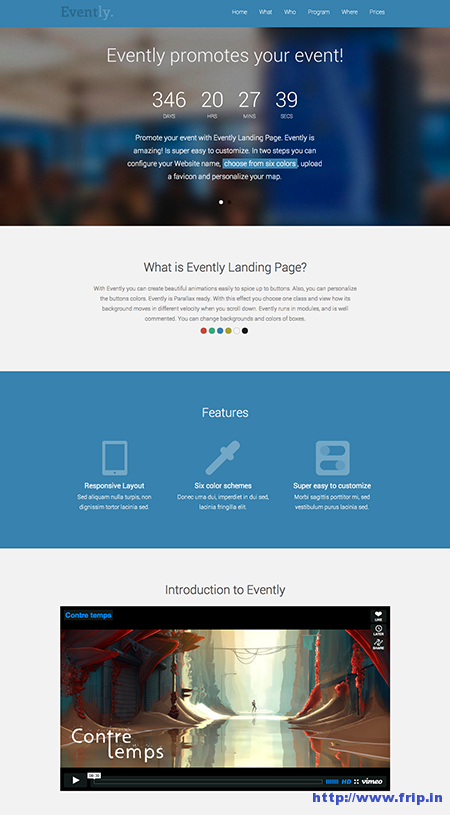 Eventlia Responsive Event Landing Page