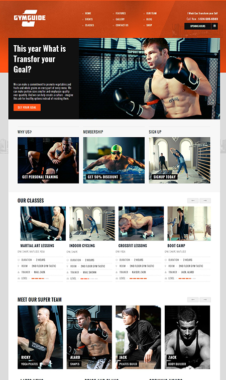 Gym Guide Fitness WordPress Theme
