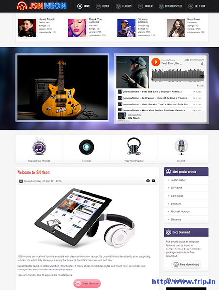 JSN Neon Joomla Music Theme
