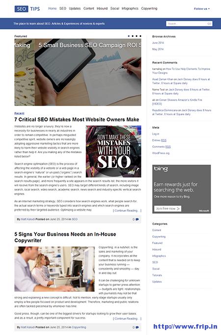 SEO Tips Responsive Blogging Theme