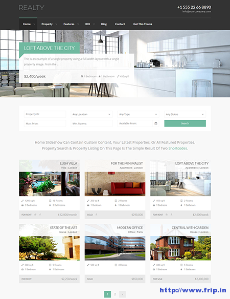 realty real estate wordpress theme