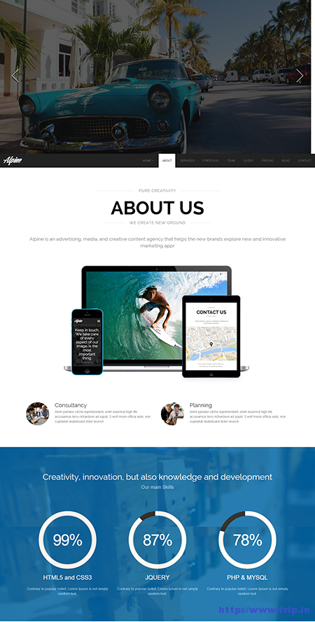 Alpine One Page Parallax Drupal Theme