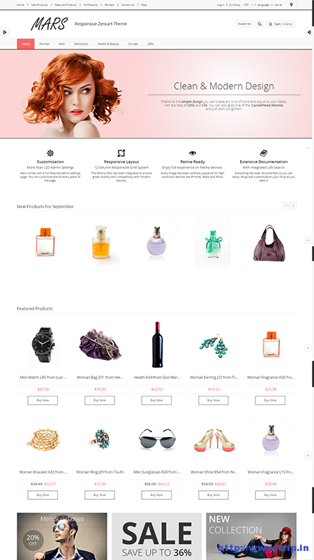 Mars Clean & Responsive Zen Cart Theme