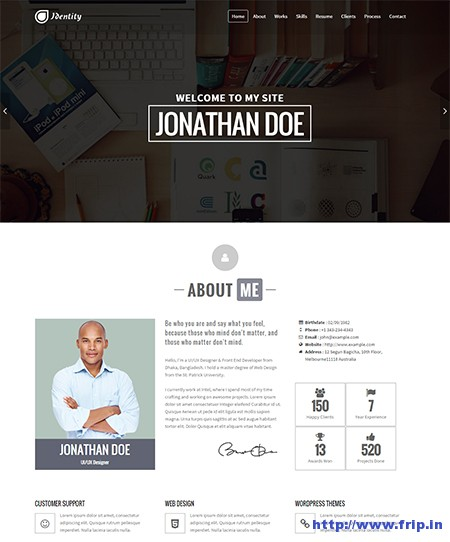 Identity-CV-Resume-WordPress-Theme