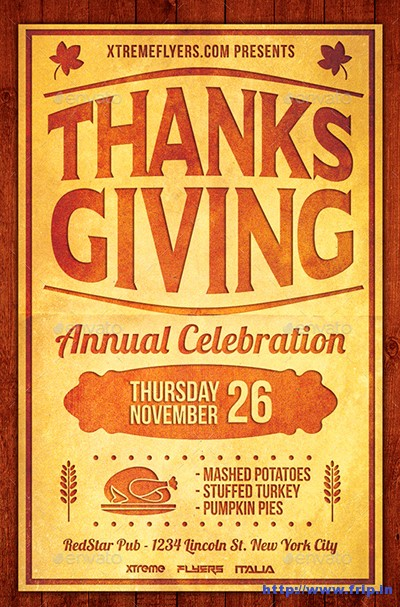 100 best thanksgiving party flyers print templates 2016. Black Bedroom Furniture Sets. Home Design Ideas