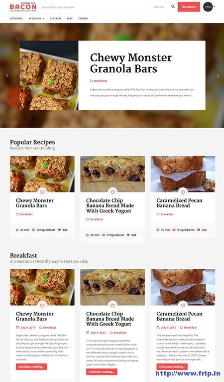 Bacon-User-Generated-Recipe-WordPress-Theme