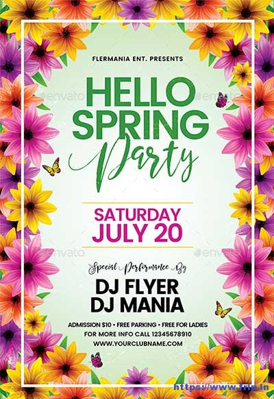 Hello-Spring-Party-Flyer-Template