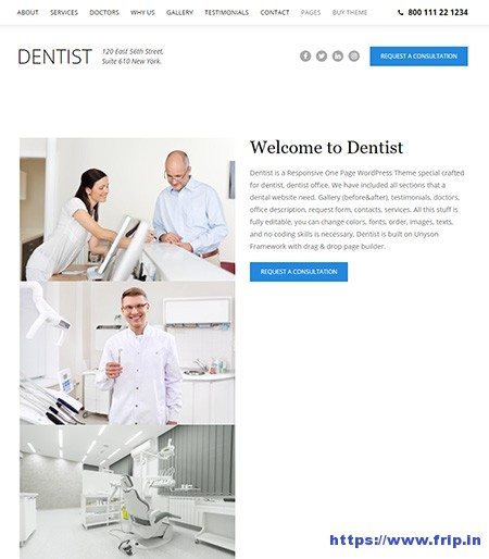 Dentist-One-Page-WordPress-Theme