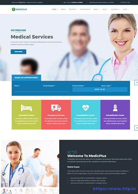 MedicPlus-Health-Clinics-WordPress-Theme Job Application Form Plugin Wordpress on business directory, user registration, category subcategory, content gallery, floating widget,